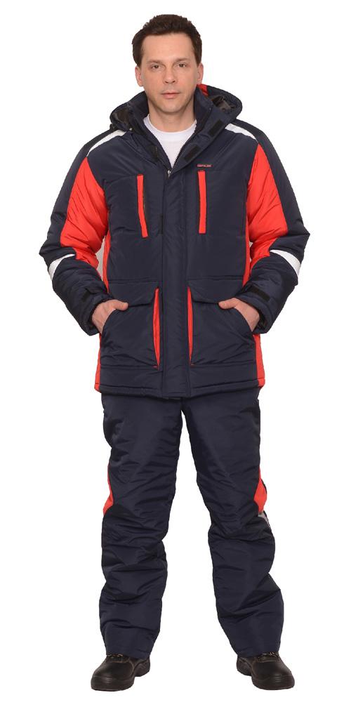 """Костюм """"Сатурн"""" утепленный куртка дл.,брюки т.синий с красным и СОП 50 мм"""