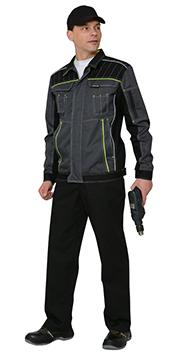 """Костюм """"Престиж"""" : куртка, п/к, цв. темно-серый с лимонным кантом"""