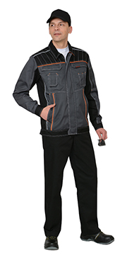"""Костюм """"Престиж"""" : куртка,брюки, цв. серый с оранжевым кантом"""