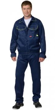 """Костюм """"ДОКЕР"""" с полукомбинезоном и укороченной курткой, синий с лимонным."""
