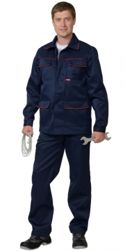 """Костюм """"ПРОФЕССИОНАЛ"""" синий с полукомбинезоном с длинной курткой."""