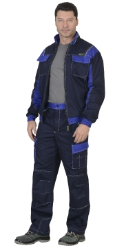 "Костюм ""КАРАТ"": куртка, брюки т.-синий с васильковым"