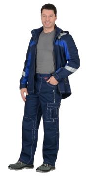 """Костюм """"Сидней"""" куртка, п/к синий с васильковым тк.Rodos (245 гр/кв.м)"""