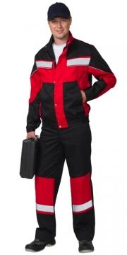 """Костюм """"ОРИОН"""" куртка, полукомбинезон чёрный с красным"""