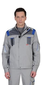 """Куртка """"СТАН"""" : св.серый со средн.серым и васильковым"""