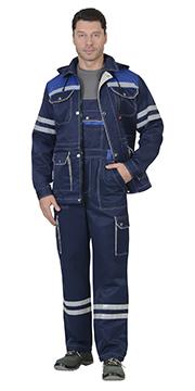 "Костюм ""ЛИДЕР""лето куртка, п/к.,т-синий с вас. и молоч. тк.Crown 270 и СОП 25 мм."