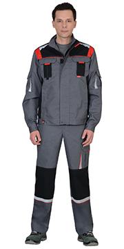 """Костюм """"СТАН"""" : куртка, п/комб ср-серая с черной и красной отделкой"""