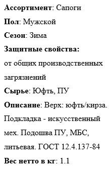 """Сапоги """"Сириус-Стандарт-зима"""" описание"""