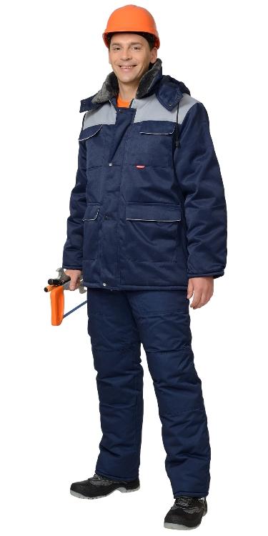 """Куртка """"Профессионал"""" длинная зимняя тёмно-синяя с серым"""