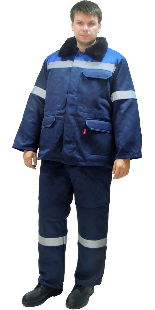 """Костюм """"СЕВЕР-2"""" зимний куртка дл.,брюки синий с васильком и СОП (съемный утеплитель)"""