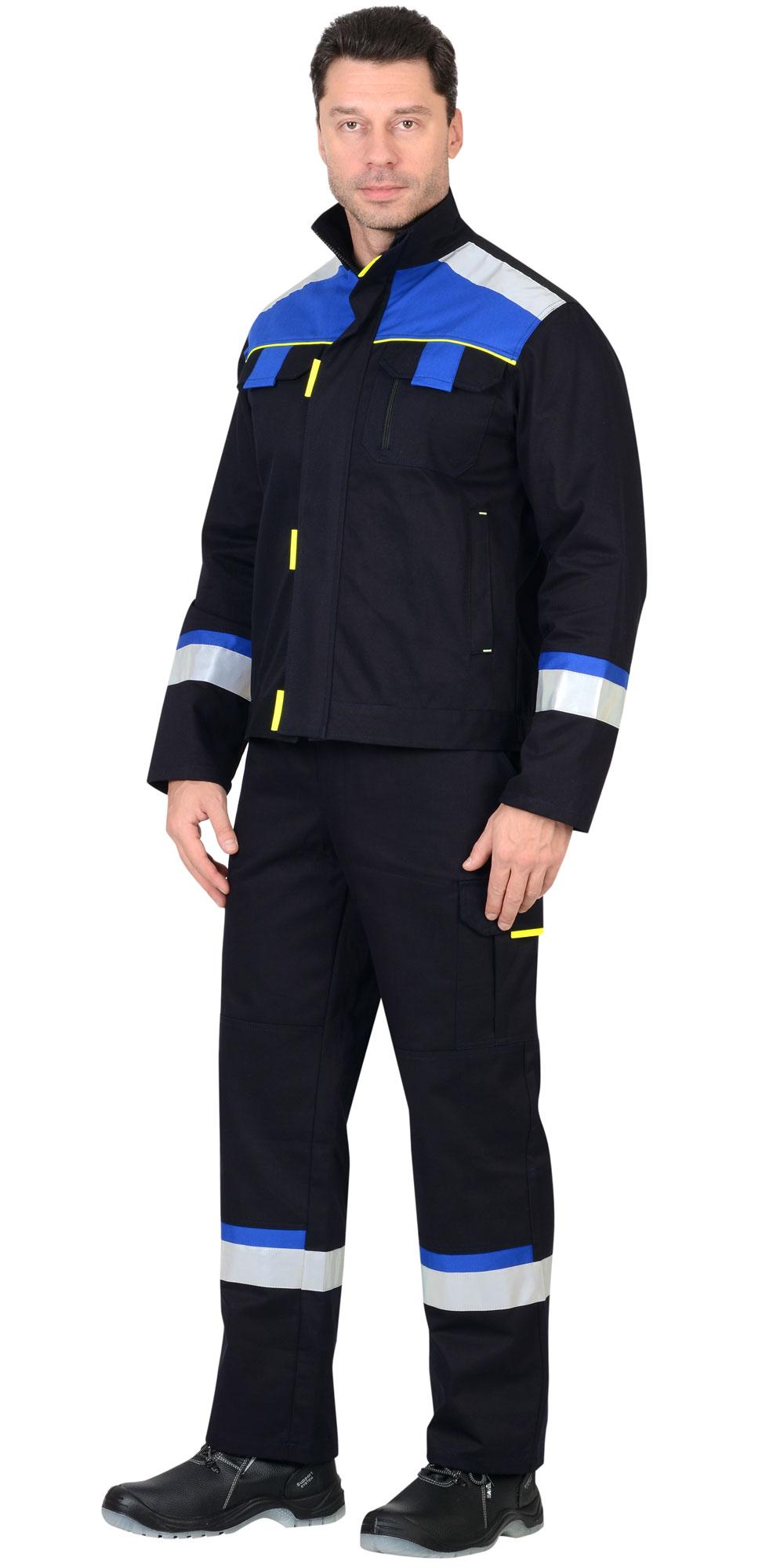 """Костюм """"БОСТОН"""" куртка, п/комб. синий с вас. и чер. отделкой"""