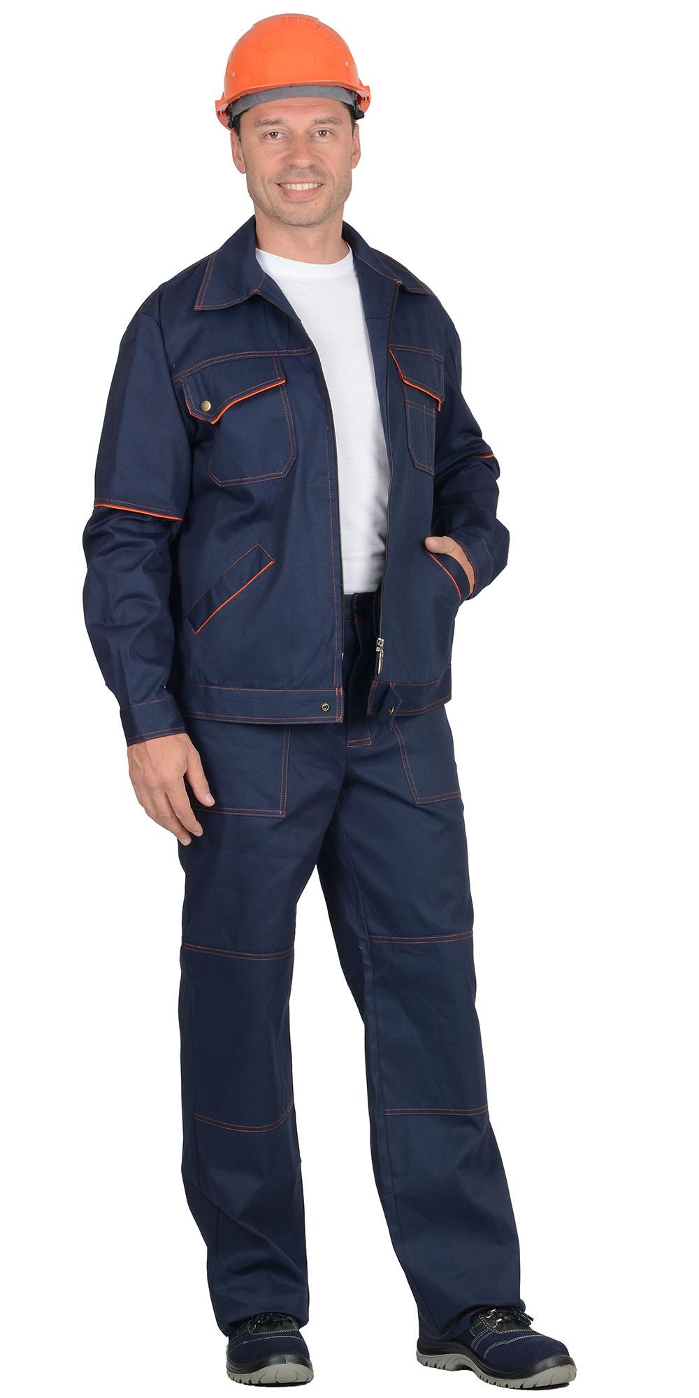 """Костюм """"ПРОФИ-2"""": куртка, брюки, синий с оранжевым кантом"""
