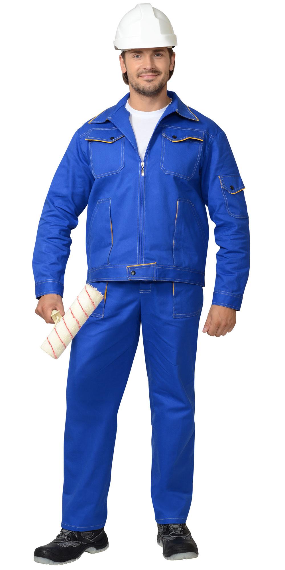 """Костюм """"Универсал"""" куртка, брюки, васильковый с желтым кантом"""