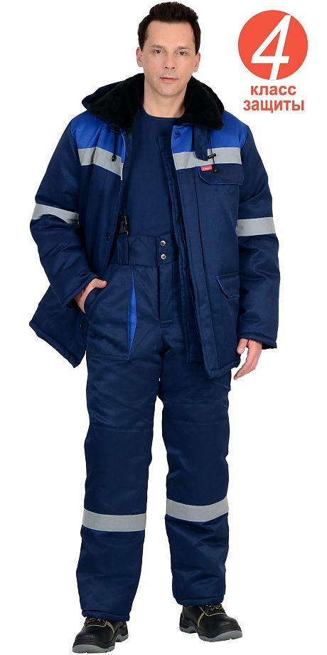 """Костюм """"СЕВЕР-1"""" зимний: куртка дл.,брюки синий с васильковым и СОП"""