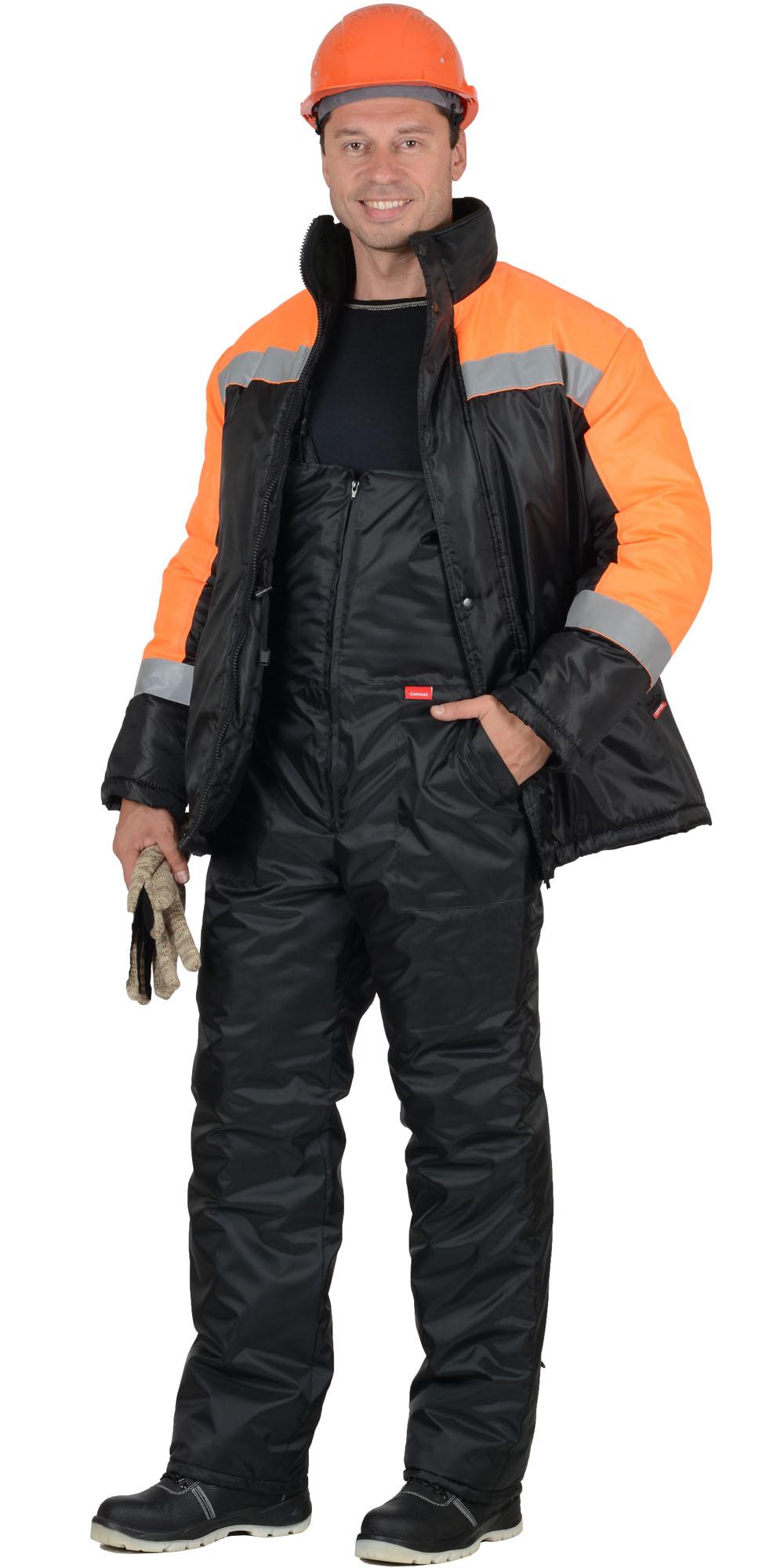 Костюм «Сириус-Спецмонтаж» черный с оранжевым и СОП