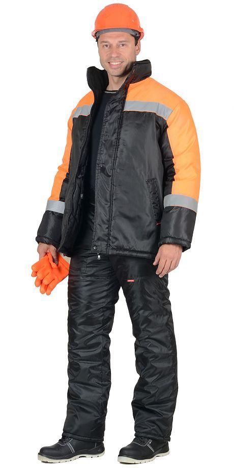 Костюм «Сириус-Спецмонтаж» зимний черный с оранжевым